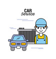 car service people mechanical support motor vector image vector image