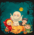 cartoon children in mystery costumes vector image vector image