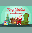 cartoon flat style santa claus vector image vector image