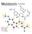 chemical formula of the melatonin molecule vector image