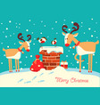 christmas card with deers and bullfinch birds vector image vector image