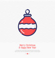 christmas red ball thin line icon vector image vector image