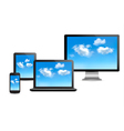 Cloud computing concept Set of computer devices vector image vector image