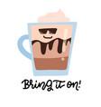 coffee mug in sunglasses hand drawn vector image
