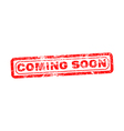 coming soon red grunge rubber stamp vector image