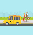 couple tourists with luggage called taxi by vector image vector image