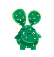 cute cactus with a troubled face cartoon emotions vector image vector image