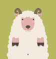 cute fat big brown horn sheep vector image vector image