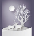 deer couple standing together in a field of snow vector image vector image