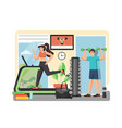 fitness gym flat style design vector image vector image