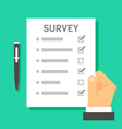 Flat design hand holding survey test paper vector image