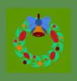 flat shading style icon christmas wreath vector image