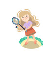 girl playing with tennis racket kid starting game vector image vector image
