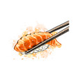 gunkan sushi with salmon from a splash of vector image vector image