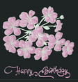 happy birthday lettering and twig sakura blossoms vector image vector image