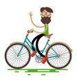 hipster man riding retro bike isolated on white vector image vector image