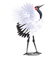 japanese crane decorated with flowers isolated vector image vector image