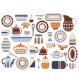 kitchen crockery ceramic cookware porcelain cups vector image