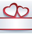 Love grey background with two 3d hearts vector image