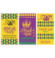 mardi gras flyers set hand lettering vector image