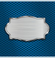 metal scratched plate on blue perforated vector image vector image