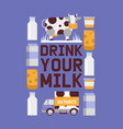 milk products farm promo poster dairy milk vector image