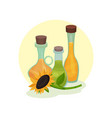 natural rapeseed sunflower and olive oil glass vector image vector image