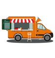 orange food truck side view menu coffee white vector image