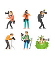 photographers with digital cameras and tripods set vector image vector image