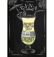 Pina Colada cocktail chalk vector image vector image