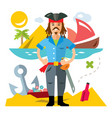 pirate with saword flat style colorful vector image vector image