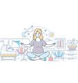 pregnancy yoga - modern line design style vector image