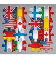 puzzle flag icons vector image