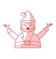 red shading silhouette cartoon half body fat santa vector image vector image