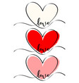 set different clour heart hand drawn vector image