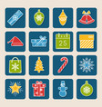 set of colored christmas icons in thin line style vector image