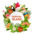 Tropical birs and flowers vector image vector image