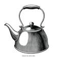 vintage tea kettle hand draw engraving black vector image