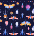 watercolor beetle pattern vector image vector image