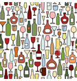 wine bottle wine glass tile pattern drink wine vector image vector image