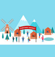 winter city and christmas market banner vector image vector image