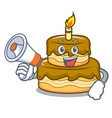 with megaphone birthday cake character cartoon vector image vector image