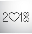 year 2018 with hearts and sand watch vector image