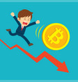 businessman running on graphs are sad at the vector image