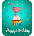 Happy birthday card jumps out of cake vector image