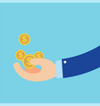flat hand earn coins symbol about business vector image