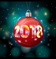 2018 new year banner with bright ball vector image vector image