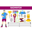 badminton sport equipment game player garment vector image vector image