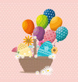 basket with eggs paint easter card vector image