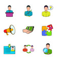 business interview icons set cartoon style vector image vector image